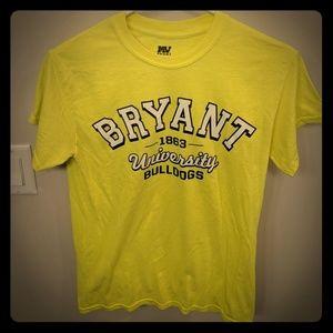 Bryant University neon yellow tshirt unisex small